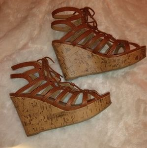 Tan strappy cork wedges